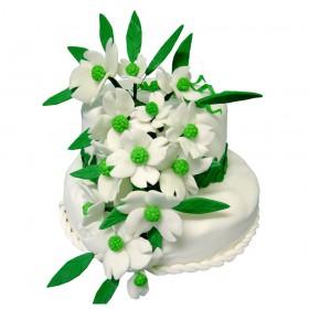 Белый двухъярусный свадебный торт с белыми цветами с зелеными лепестками