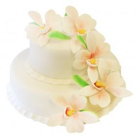 Белый двухъярусный свадебный торт с нежнейшими цветами