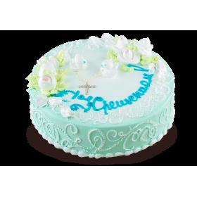 Детский торт нежно-бирюзового цвета на крещение
