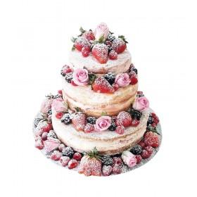 Свадебный торт с открытым бисквитом, украшенный свежими ягодами и розами