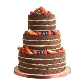 Шоколадный трехъярусный свадебный торт с открытым бисквитом