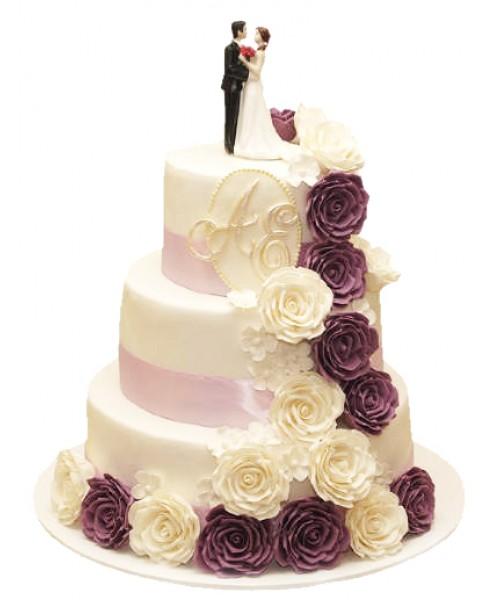Торт свадебный трехъярусный с шоколадными и белыми розами из крема