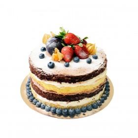 Торт свадебный одноярусный со свежими ягодами сверху