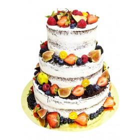 Торт свадебный  трехъярусный с открытым бисквитом со свежими ягодами