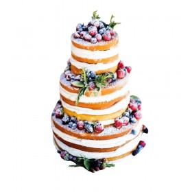 Торт свадебный трехъярусный с открытым бисквитом  и украшенный с клубникой и голубикой