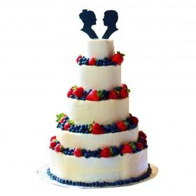 Торт  свадебный пятиярусный со свежими ягодами