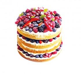 Открытый свадебный торт с ассорти из ягод
