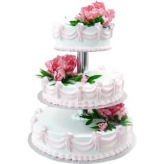 Белый кремовый трехъярусный свадебный торт с цветками пиона на каждом ярусе