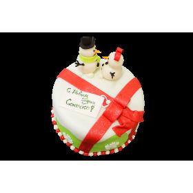 Торт на Новый год со снеговиком