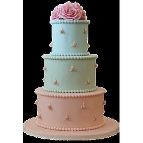 Торт свадебный розово-голубой с мелкими розами по бокам