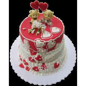 Торт свадебный с мишками и сердцами