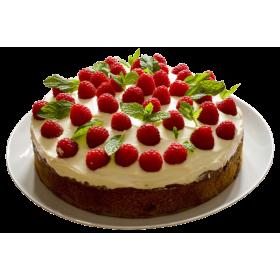 Торт праздничный с малиной и лепестками мяты