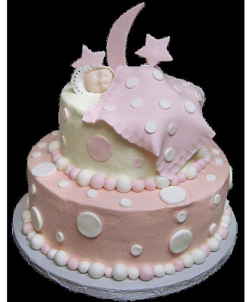 Детский торт с фигуркой ребенка, месяцем и звездами