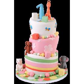 Детский торт с разными животными