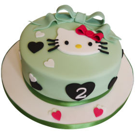 Детский торт зелёный на два года Хэлло Китти