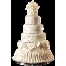 Белый шестиярусный свадебный торт, покрытый мастикой