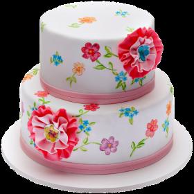 Торт в классическом оформлении с цветами