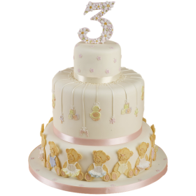 Детский торт трехъярусный на три года