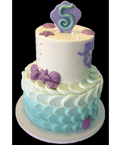 Детский торт на Пять лет с голубым оттенком