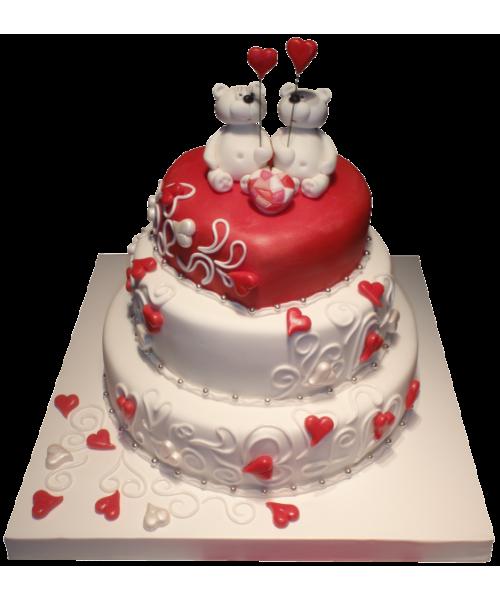 Свадебный торт в три этажа влюбленные Мишки