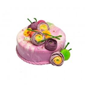 Торт праздничный универсальный, украшен фиолетовой глазурью, с цветами пион из мастики