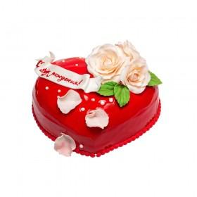 Торт праздничный в форме сердца с надписью и цветами алых роз из мастики