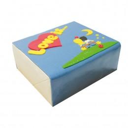 Торт праздничный квадратной формы, Лове ис (Love is) покрыт синей мастикой апликация