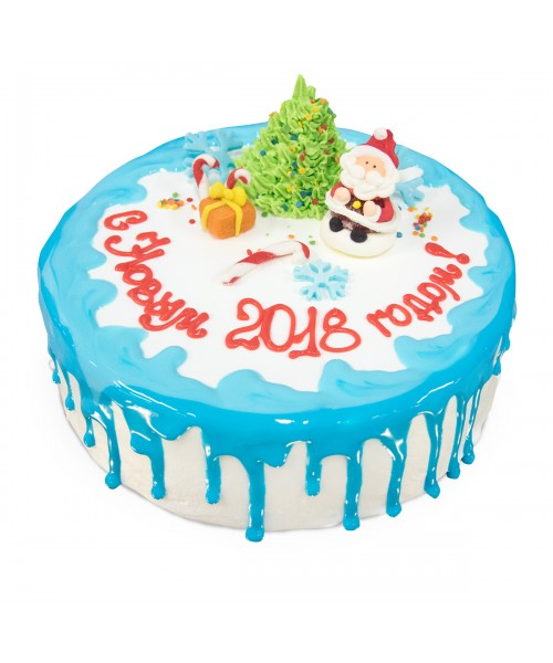 Торт на Новый год  покрытый глазурью и украшенный ёлочкой