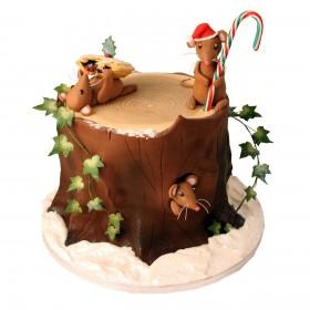 Торт на Новый год в форме пня с фигурками мышей