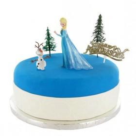 Торт на Новый из синей мастики тематика  фигурки из сказки холодное сердце