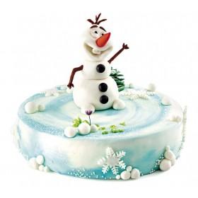 Новогодний торт со снеговиком из сказки холодное сердце