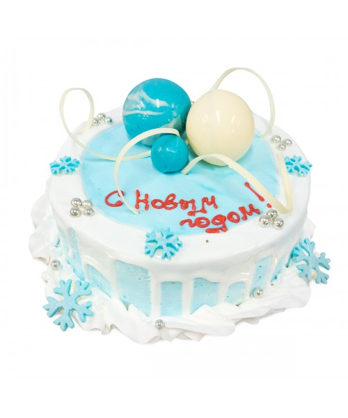 Торт на Новый год  с белыми и голубыми шарами