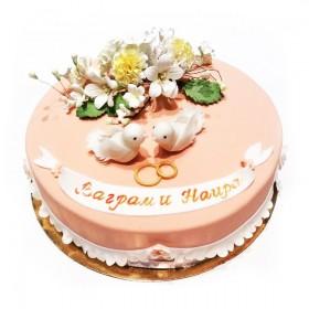 Торт свадебный с голубями