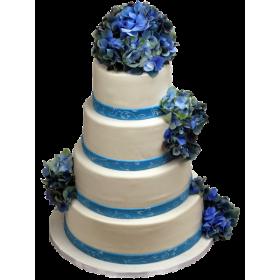 Торт Свадебный белый с синими цветами