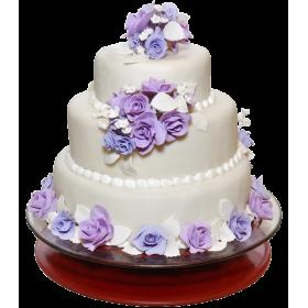 Торт Свадебный трех ярусный с фиолетовыми розочками