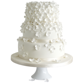 Торт свадебный белоснежный с белыми цветочками