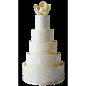 Торт Свадебный белый с большим белым цветком