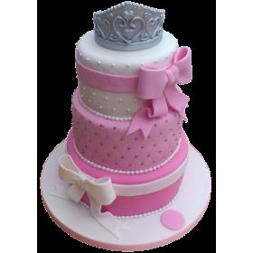 Детский торт розовый с короной