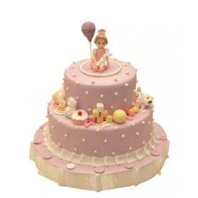Детский торт с фигуркой девочки и собачкой