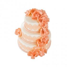 Торт в три этажа «Свадебный с оранжевыми орхидеями»