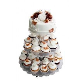 Белый одноярусный свадебный торт с капкейками, украшенными цветами шоколадного и белого цветов